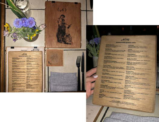 wooden menus, wildflowers, table setting, restaurant experience